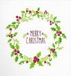 Zdjęcia na płótnie, fototapety, obrazy : Merry Christmas watercolor holly berry wreath card
