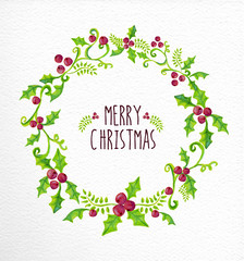 Merry Christmas watercolor holly berry wreath card