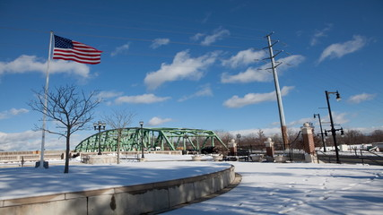 A timelapse view of a bridge in winter