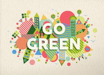 Przejdź zielony cytat plakat projekt tło