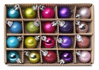 Colorful Xmas balls in box