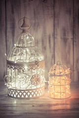 Christmas light in a cage