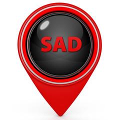 Sad face pointer icon on white background