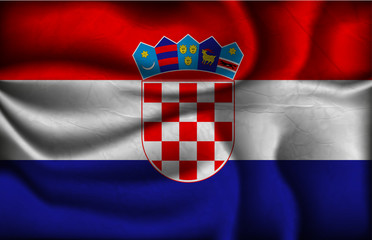crumpled flag of Croatia on a light background