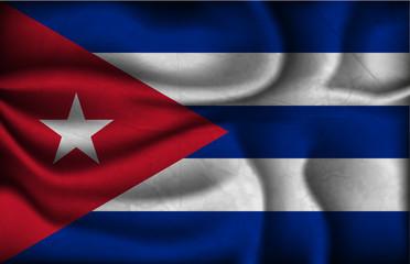 crumpled flag of Cuba a light background