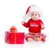 baby weared santa clothes with gift box