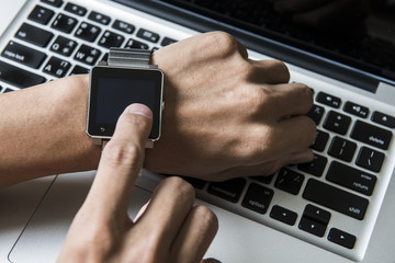 Business people are using smart watch