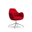 Isolated contemporary red armchair