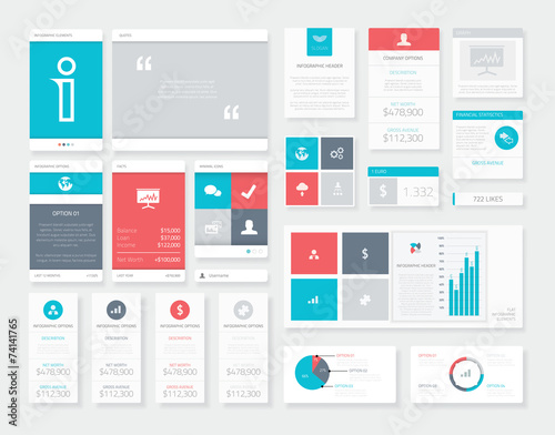Flat Ui Infographics Vector Kit. Mobile Data Visualization Pack. - 74141765
