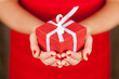 Leinwandbild Motiv Female hands holding a present box