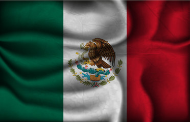 crumpled flag of Mexico on a light background