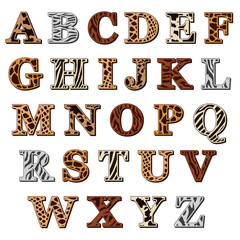 Latin alphabet with animal print
