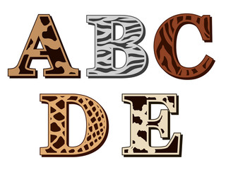A, B, C, D, E alphabet letters animal fur patterns