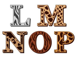 L, M, N, O, P alphabet letters animal fur patterns