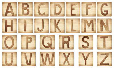 Wooden alphabet letters blocks