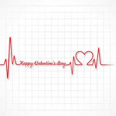 Valentine greeting with heartbeat stock vector