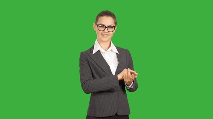 Young beautiful business woman showing copy space. Close-up