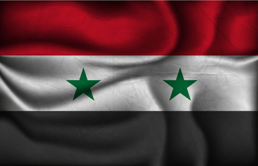 crumpled flag of Syria on a light background