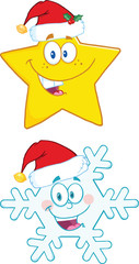 Christmas Symbol Cartoon Characters. Collection Set