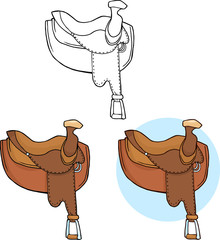 Horse Saddles. Collection Set