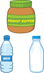 Cartoon Peanut Butter, Water and Milk Bottle. Collection Set