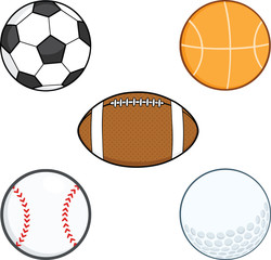 Cartoon Sport Balls. Collection Set