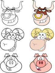 Animal Heads Cartoon Characters. Collection Set