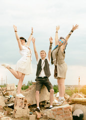 guy and girls hipsters have good time as new generation