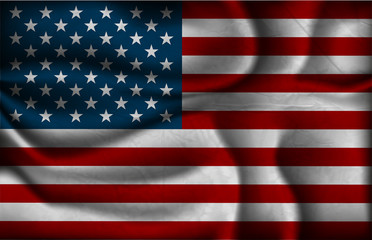 crumpled flag of United States Of America on a light background