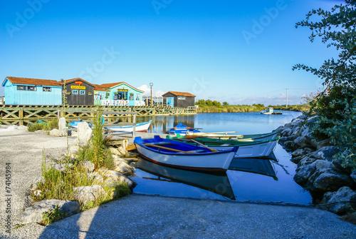 Leinwanddruck Bild Île d'Oléron cabanes colorées