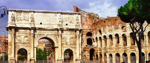 Colosseo and arco di costantino, great Roma - 74146120