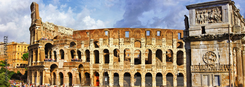 great Rome, panoramic view with Colosseo - 74146132