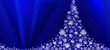 White Christmas tree on blue  background.