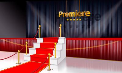 Premiere, Uraufführung mit Bühne, roten Teppich,