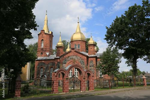 canvas print picture russisch-orthodoxe Kirche im Baltikum