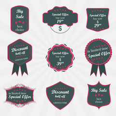 Set of vector labels on sale product