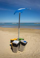 Rubbish bin eccologycally sorted on the Italian beach