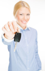 Business woman holding Car keys