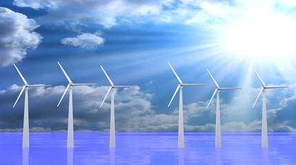 Wind turbines, 3d render