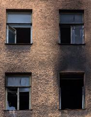 Broken burned building