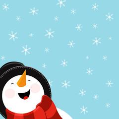 Big Snowman Enjoying Snow