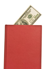 Vertical Red Book With Blank Cover and Money