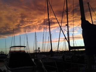 Sunst over Tauranga Marina