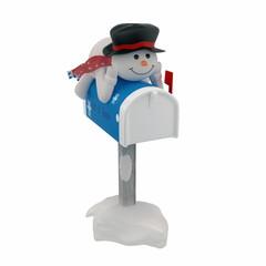 Snowman mailman isolated