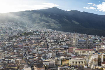 Panoramic view of central Quito with Basilica del Voto Nacional