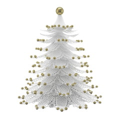 White Christmas tree with golden baubles isolated