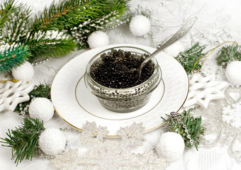 Beluga caviar and Christmas decor