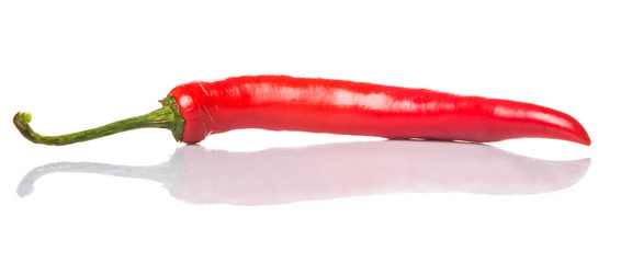 Red chili peppers over white background