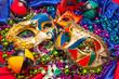 Three Mardi Gras Masks and Beads - 74150138