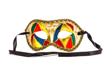 Colorful Mardi Gras Mask on white background with black ribbon
